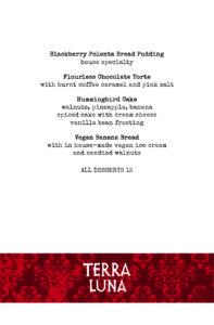 Terra Luna dessert menu for 2021