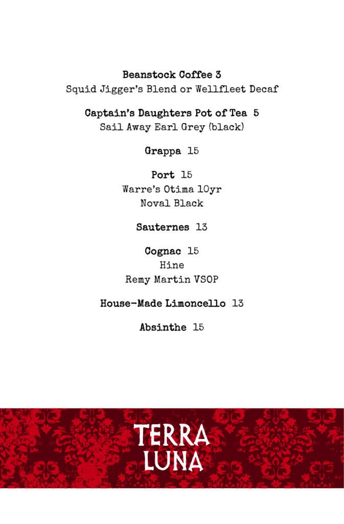 Terra Luna after-dinner drink menu for 2021
